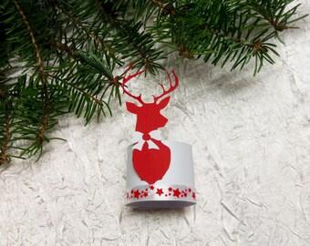 "napkin ring ""set of 10"" reindeer Christmas decoration"