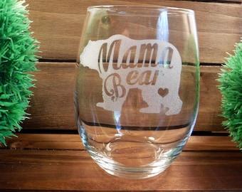 Handmade Custom Wine Glasses Mama Bear Personalized