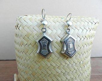 Tuareg earring, dangle earrings, long ethnic inlaid ebony