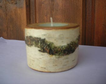Birch wood candle holder and its scented candle