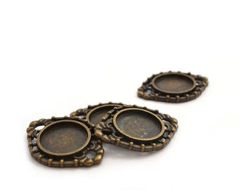 4 cabochons 14 mm antique bronze color tray holders
