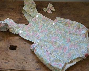 Romper liberty poppy and dasy pastel