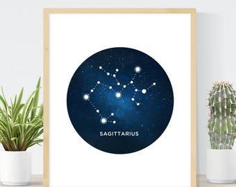 Sagittarius Constellation | Zodiac Print | Watercolor Constellation | Astrology Sign | Sagittarius Gift | Watercolor Galaxy Star Map