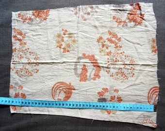 Fabric Japanese asahona and flowers on beige 41x30cm round