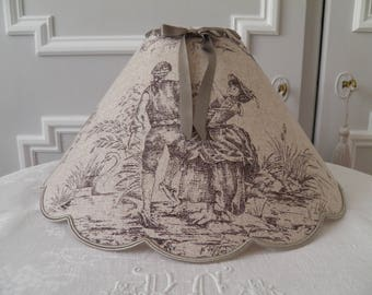 linen French toile de jouy patterns scalloped Lampshade