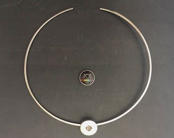 Rigid flat necklace stainless steel medium pressure 18-20mm Cabochon