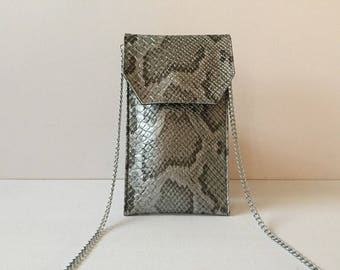 Case portable python Crossbody for phone or glasses with removable chain, faux leather on the inside Dragonfly motif