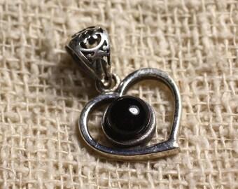 Pendant Silver 925 heart 16mm and semi precious - Onyx Black 6mm