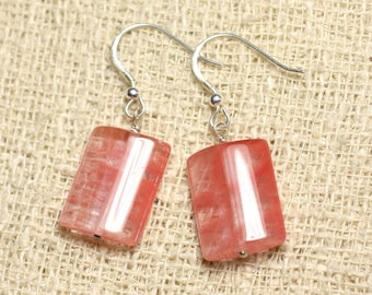 Stone - 18mm Rectangles cherry Quartz and 925 Sterling Silver earrings