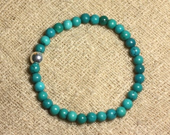 Bracelet 925 sterling silver and semi precious - Turquoise natural 6 mm