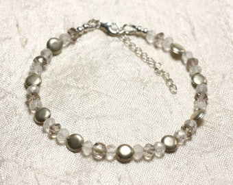 925 sterling silver and stones of rock crystal and 5x3mm faceted smoky Quartz bracelet