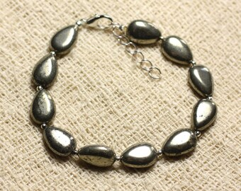 Bracelet 925 sterling silver and stone - Pyrite drops 12mm