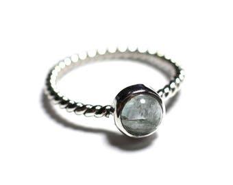 N231 - Ring 925 sterling silver and stone - Aqua Marine 6 mm ring twist