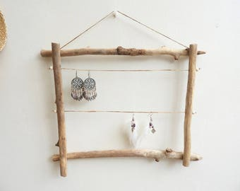 Driftwood earrings display * fluent, seaside