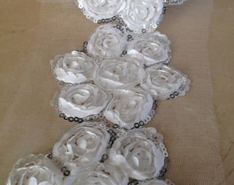 1 meter of trim 9 cm white sequins and satin flowers