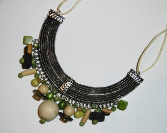 Bib necklace NATURE in metal and beads. Gift idea, trend