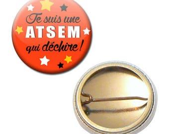 Badge 25 mm - I'm a school that rocks orange kindergarten kids gift