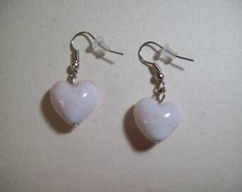 Pink White Heart Earrings