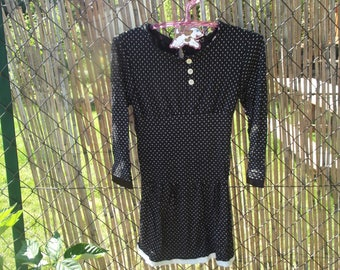 """charming"" black stretch cotton patterned dress"