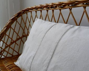 White cuchion or pillow cover made from vintage french linen sheet