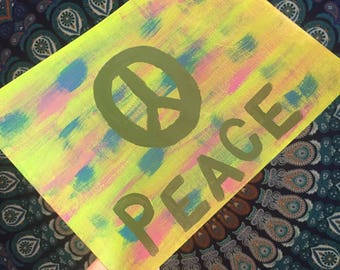 Original Acrylic Peace Painting 9x12