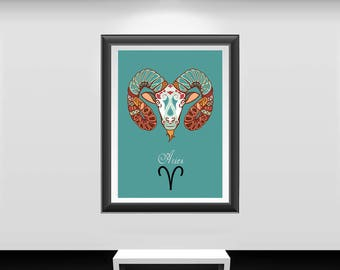 Aries print, Aries art, Aries poster, zodiac sign print, zodiac sign poster, zodiac Aries, zodiac wall decor, zodiac wall art, zodiac