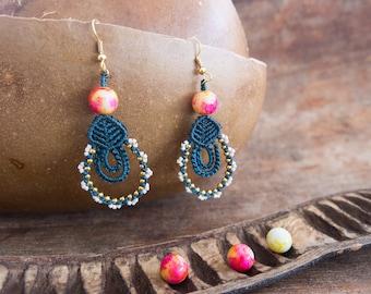 Blue earrings with glass beads and miyuki
