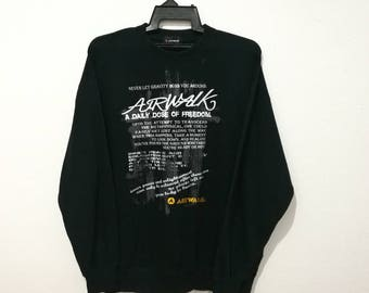 RARE!! Vintage Airwalk Embroidery Spellout Sweatshirt Jumper Pullover