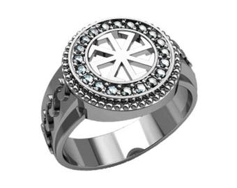 Colovrat Symbol Ethnic with Zircons Unisex Ring Sterling Silver 925 SKU30227