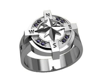 Nautical Handwheel Symbol Men's Ring Sterling Silver 925 SKU30171