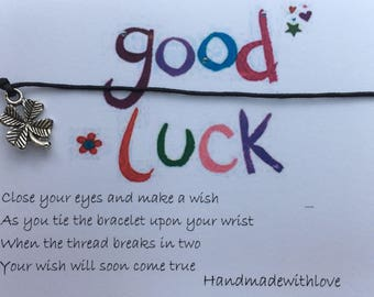 Handmade Good Luck Wish String Friendship Bracelet Black Cord Card Gift