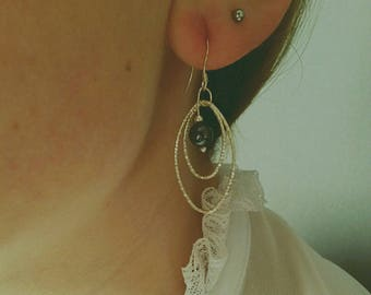 Earrings in 925 sterling silver and Pearl Magnetite