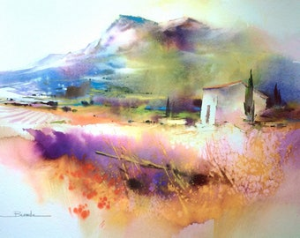 """Landscape watercolor """"at the foot of the alpilles Lavender field"""""""