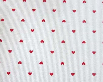 Pique cotton fabric printed hearts on white background, price is for 50 cm