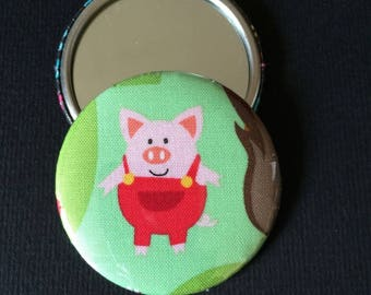 """Pocket mirror printed """"3 little pigs"""" and matching wallet"""