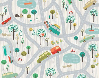 Scenic Route in Gray by Deena Rutter for Riley Blake Designs, 100% Cotton Fabric. Quarter Yard, Half Yard, By the Yard