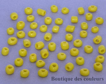 Set of 350 (30, 60g) opaque yellow glass seed beads
