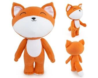 Cute stuffed Fox toy, handmade orange and white Fox, plush soft fox for baby