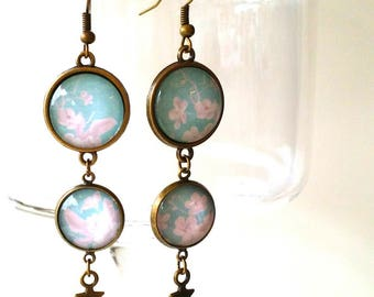 Earrings pendants #garden in blue2 # romantic and retro vintage