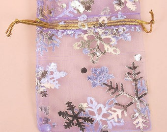 Set of 10 organza pouches - 6.5x9cm - purple snowflakes with gold plated.