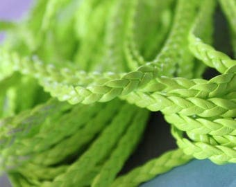Sold by 50cm - neon green - leatherette braided cord