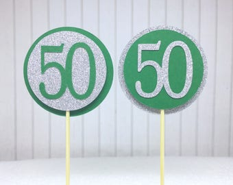 "50th Birthday Cupcake Toppers - Silver Glitter & Emerald Green ""50"" - Set of 12 - Elegant Cake Cupcake Age Topper Picks Party Decorations"