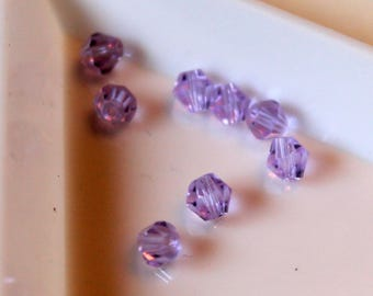 x 10 #T35 - purple faceted bicone beads / purple - 4mm - Crystal from Austria