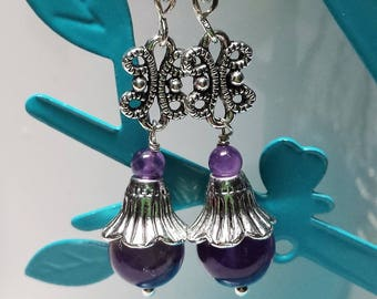 Amethyst earrings real Tulip