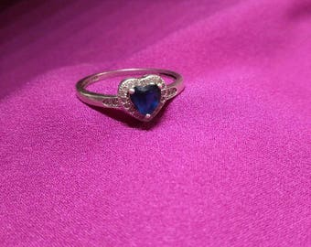 Sterling silver heart shaped Sapphire ring