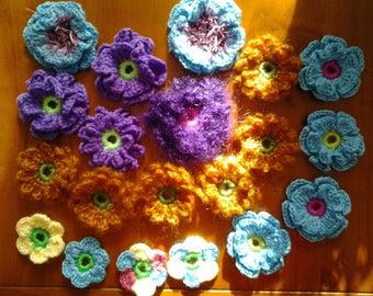 Set of 2 hand made crochet flowers