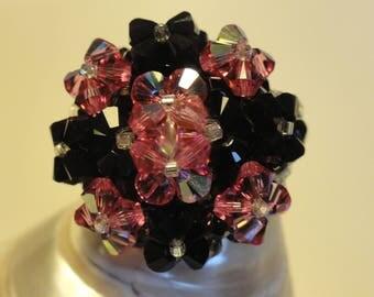 Ring hand made Black Rose Swarovski Crystal beads