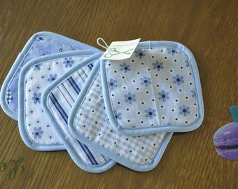 Light blue set of 5 wipes