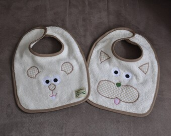 Set of two bibs baby ecru cat and mouse