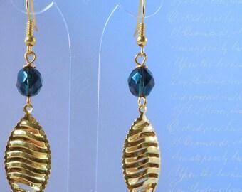 Gold leaf and crystal - blue-grey
